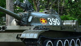 Ho Chi Minh City (Saigon) Vietnam - Zoom Out of Tank at the Independence Palace. Famous tank that smashes through Palace Gates to end the Vietnam War stock video footage