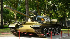 Ho Chi Minh City (Saigon) Vietnam - Zoom Out of Tank at the Independence Palace. Famous tank that smashes through Palace Gates to end the Vietnam War stock footage