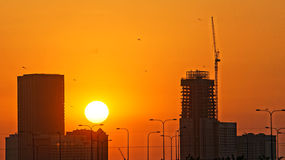 Ho Chi Minh city in silhouette at sunset Stock Photos