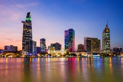 Ho Chi Minh city skyline. Aerial panoramic view at night. Ho Chi Minh is the largest city in Vietnam royalty free stock photos