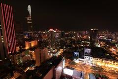 Ho Chi Minh City Skyline på natten Fotografering för Bildbyråer