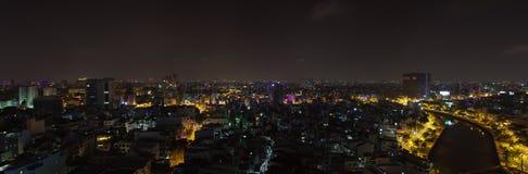 Ho Chi Minh City stads- natt, Vietnam Arkivbilder