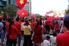 Exiting atmosphere of Vietnamese football fans Royalty Free Stock Images