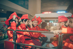 HO CHI MINH CITY, VIET NAM - 17 JUNE, 2016: Children having fun. In indoors playground as the fireman stock photography