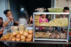 Noodles soup at sisewalk restaurant royalty free stock photo