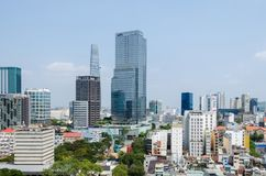 Ho Chi Minh City metropolis and downtown of Saigon, Vietnam. Ho Chi Minh City, Vietnam - 4 April, 2018: Ho Chi Minh City metropolis with its few remaining old royalty free stock photography
