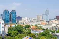 Ho Chi Minh City metropolis and downtown of Saigon, Vietnam. Ho Chi Minh City, Vietnam - 4 April, 2018: Ho Chi Minh City metropolis with its old french styled stock images
