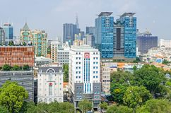 Ho Chi Minh City metropolis and downtown of Saigon, Vietnam. Ho Chi Minh City, Vietnam - 4 April, 2018: Ho Chi Minh City metropolis with public and royalty free stock photography