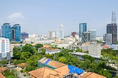 Ho Chi Minh City metropolis and downtown of Saigon, Vietnam. Ho Chi Minh City, Vietnam - 4 April, 2018: Ho Chi Minh City metropolis with Vincom Center Shopping royalty free stock image