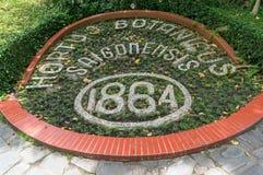 Ho Chi Ming City Botanical Garden flowerbed with established dat stock image