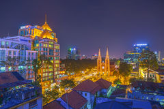 HO CHI MINH CITY / VIETNAM - DEC 17 2014: sunset or sunrise at Night view Notre Dame Cathedral ( Saigon Notre-Dame Basilica ), dow Royalty Free Stock Images