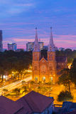 HO CHI MINH CITY / VIETNAM - DEC 17 2014: sunset or sunrise at Night view Notre Dame Cathedral ( Saigon Notre-Dame Basilica ) Royalty Free Stock Photography
