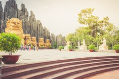 Ho Chi Minh City, Vietnam, 12,25,2017  gold dragons statues Royalty Free Stock Photo