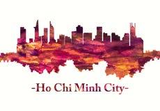 Ho Chi Minh City Vietnam horisont i rött royaltyfri illustrationer