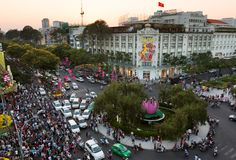HO CHI MINH CITY, VIETNAM, January 29, 2014: Rex Hotel at Lunar Royalty Free Stock Photo