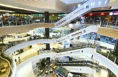 Shopping Mall with modern architecture several floors equipped. Ho Chi Minh City, Vietnam - January 8th, 2017: Shopping Mall with modern architecture several Stock Images