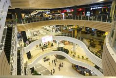 Shopping Mall with modern architecture several floors equipped. Ho Chi Minh City, Vietnam - January 8th, 2017: Shopping Mall with modern architecture several Royalty Free Stock Photography