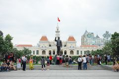 Tourists gather outside at The Monument of President ho Chi Minh Statue Stock Photo