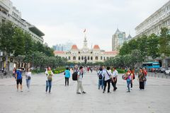 Tourists gather outside at The Monument of President ho Chi Minh Statue Royalty Free Stock Images