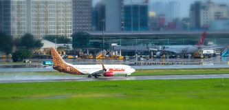 Plane Boeing 737 of Malindo Air taking off at Tan Son Nhat International Airport. Ho Chi Minh City, Vietnam - July 31th, 2018: Plane Boeing 737 of Malindo Air Stock Photo