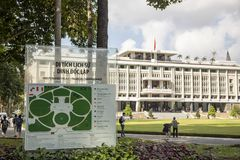 Map of Reunification Palace in Ho Chi Minh City or Saigon Vietnam. Ho Chi Minh City, Vietnam - March 9, 2019 :  Sign and tourists outside Reunification, or royalty free stock image