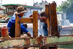 Welders Ho Chi Minh City stock image
