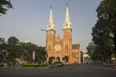 HO CHI MINH CITY, VIETNAM-NOV 3RD: Notre Dame Bailica bathed in Royalty Free Stock Photography