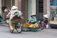 HO CHI MINH CITY, VIETNAM-NOV 3RD: Street vendors  Royalty Free Stock Photos