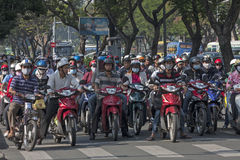 HO CHI MINH CITY,VIETNAM-NOV 4TH: Motorcyclists waiting at traff Royalty Free Stock Photo