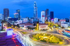 Ho Chi Minh City, Vietnam. November 21, 2015: View of the city after sunset with Bitexco Financial Tower on the background on November 21, 2015 in Ben Thanh Royalty Free Stock Photos