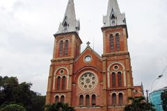 Ho Chi Minh City Vietnam Paisagens da cidade, templos religiosos, ilustrações da arte vietnamiana imagem de stock royalty free