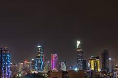Ho Chi Minh city, Vietnam skyline by night royalty free stock image