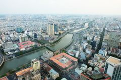 Ho Chi Minh city view from top @ Bitexco Financial Tower stock images