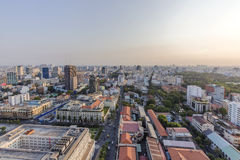 Ho Chi Minh city view from top of the buiding. Ho Chi Minh city view from above in the sunset. Ho Chi Minh City has the most dynamic economy in Vietnam.nPhoto Royalty Free Stock Image