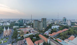 Ho Chi Minh city view from top of building. Ho Chi Minh city view from above in the night. Ho Chi Minh City has the most dynamic economy in Vietnam.nPhoto taken Stock Image