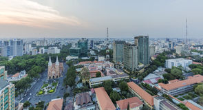 Ho Chi Minh city view from top of building. Ho Chi Minh city center from top of building in the night. Ho Chi Minh City has the most dynamic economy in Vietnam Royalty Free Stock Images