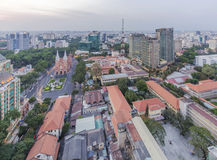 Ho Chi Minh city view from top of building. Ho Chi Minh city center in the nightfall. Ho Chi Minh City has the most dynamic economy in Vietnam.nPhoto taken on Royalty Free Stock Photos