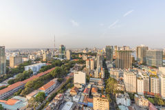 Ho Chi Minh city view from top of building. Ho Chi Minh City has the most dynamic economy in Vietnam Royalty Free Stock Images