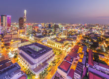 Ho Chi Minh city view from top of building. In the night. Ho Chi Minh City has the most dynamic economy in Vietnam.nPhoto taken on: 01 May 2016 Royalty Free Stock Photos