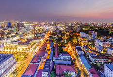 Ho Chi Minh city view from top of building. In the night. Ho Chi Minh City has the most dynamic economy in Vietnam Royalty Free Stock Photo