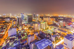 Ho Chi Minh city view from top of building. In the night. Ho Chi Minh City has the most dynamic economy in Vietnam Royalty Free Stock Photos