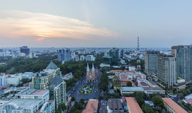 Ho Chi Minh city view from top of building. In the nightfall. Ho Chi Minh City has the most dynamic economy in Vietnam.nPhoto taken on: 01 May 2016 Stock Images