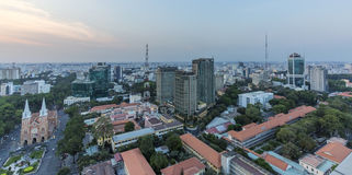 Ho Chi Minh city view from top of building. In the nightfall. Ho Chi Minh City has the most dynamic economy in Vietnam.nPhoto taken on: 01 May 2016 Stock Photography