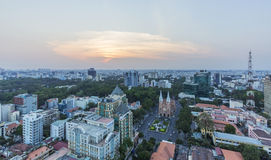 Ho Chi Minh city view from top of building. In the nightfall. Ho Chi Minh City has the most dynamic economy in Vietnam Stock Photos