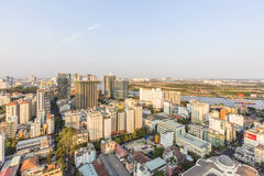 Ho Chi Minh city view from top of building. Sunset, Ho Chi Minh city view from top of building. Ho Chi Minh City has the most dynamic economy in Vietnam Royalty Free Stock Photos