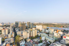 Ho Chi Minh city view from top of building. Sunset, Ho Chi Minh city view from top of building. Ho Chi Minh City has the most dynamic economy in Vietnam Royalty Free Stock Image
