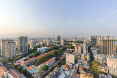 Ho Chi Minh city view from top of building. Sunset, Ho Chi Minh city view from top of building. Ho Chi Minh City has the most dynamic economy in Vietnam Royalty Free Stock Images