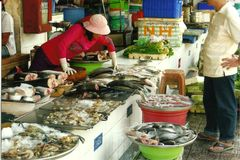 Ho Chi Minh City-vissenmarkt Stock Afbeeldingen