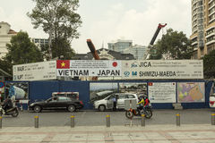 Ho Chi Minh dans le chantier de construction de métro du Vietnam Images libres de droits
