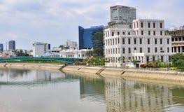 Ho Chi Minh flodstrand, Vietnam Arkivbilder